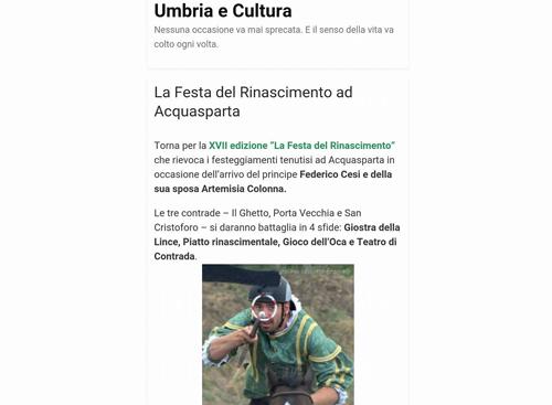 23 maggio 2016 - Umbria e Cultura